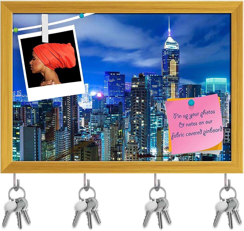 Artzfolio Hong Kong Cityscape Key Holder Hooks   Notice Pin Board   golden Frame 17.2 X 12Inch