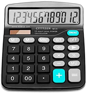 Calculator,12-Digit Solar Battery Basic Calculator,Solar Battery Dual Power with Large LCD Display Office Calculators(Blac...