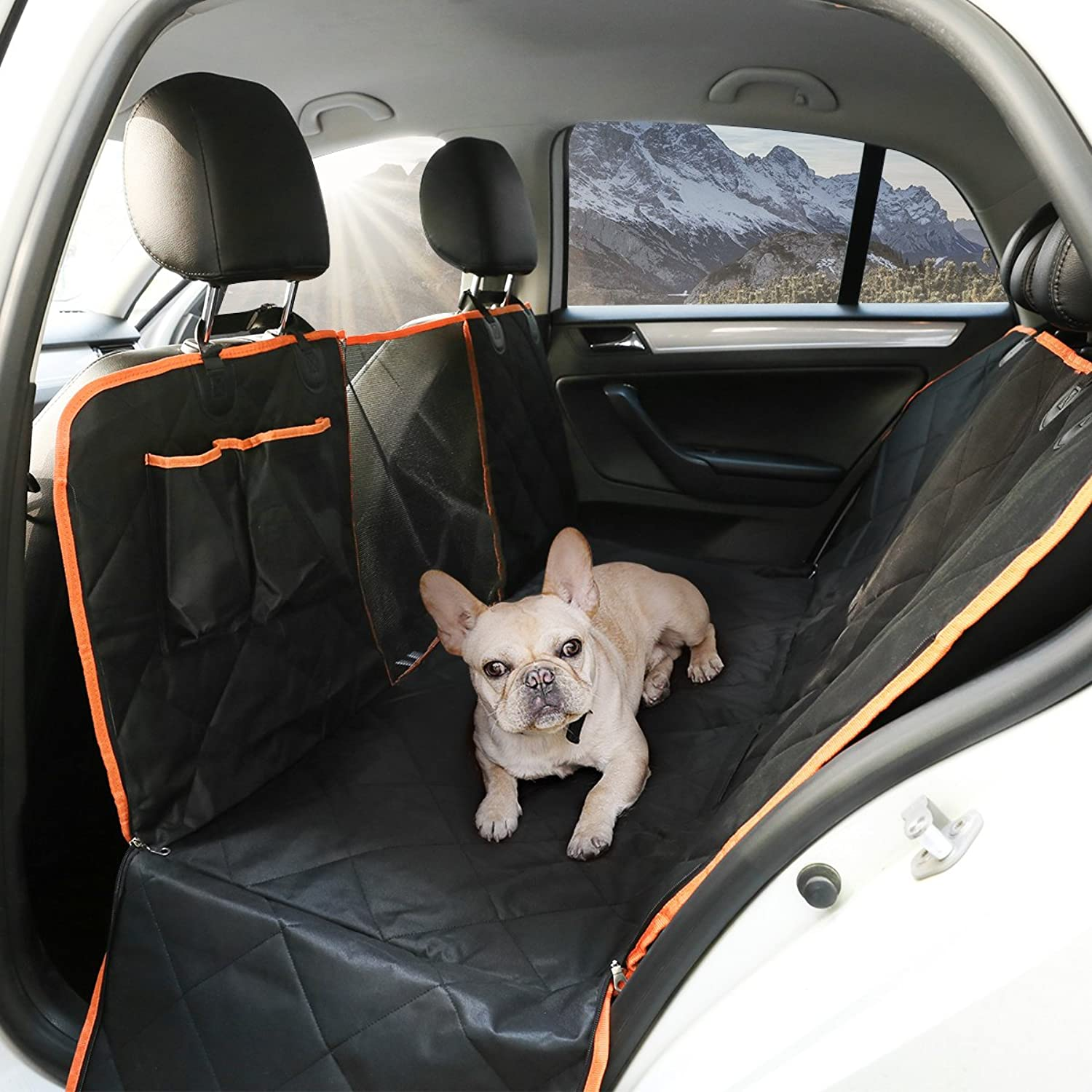 Dog Car Seat Cover with Mesh Viewing Window, Waterproof Scratch Proof Nonslip Back Seat Cover, Dog Travel Hammock