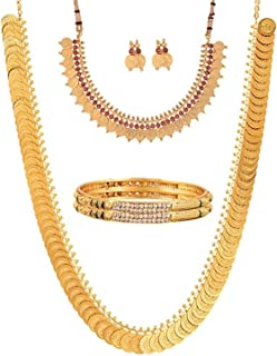 Jewellery Bollywood Ethnic Gold Plated Traditional Indian Combo of Necklace Jewellery Set with Bangles and Earrings for Women