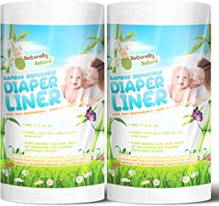 Naturally Natures Bamboo Disposable Diaper Liners (2PK) 200 Sheets Gentle and Soft, Chlorine and Dye-Free, Unscented, Biod...