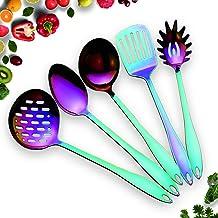 HOMQUEN Stainless Steel Kitchen Utensil Set - 5 Cooking Utensils, Rainbow Color Nonstick Kitchen Utensils Set, Colorful Ti...