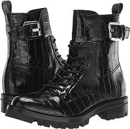 Noir Croco Print Leather