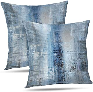 Alricc Blue and Grey Abstract Art Artwork Pillow Cover, Gallery Modern Decorative Throw Pillows Cushion Cover for Bedroom Sofa Living Room 18X18 Inches Set of 2