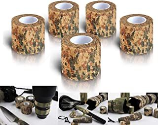 Nastro Mimetico invisibileper Militare Bendaggio Elastico Adatto per Campeggio allaperto Benda Autoadesiva coesive Fotografia Caccia 5-Pack ZYCZ Camo Wrap Tape