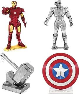 fascinations Metal Earth 3D Metal Model Kits Set of 4 Marvel Models - Captain America's Shield, Thor's Hammer, Iron Man Helmet, War Machine
