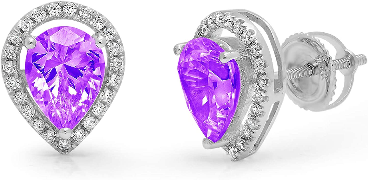 2.42ct Pear Round Cut Halo Solitaire Natural Purple Amethyst VVS1 gemstone Unisex Designer Solitaire Stud Screw Back Earrings Solid 14kWhite Gold