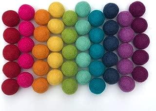 "Wildflower by Hu Hands 100% Handmade Wool Felt Pom Poms - Rainbow Party - (50) Pure New Zealand Wool Felt Balls - DIY Pompoms - 0.8-1.0"" Size - Drawstring Muslin Bag"