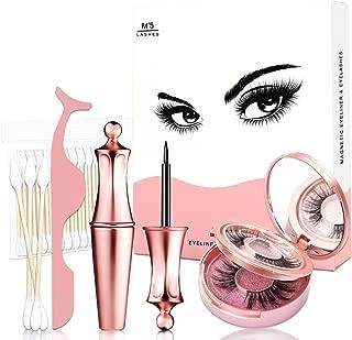 Magnetic Eyelashes, Magnetic Eyeliner and Magnetic Eyelash Kit, Magnetic False Eyelashes, Upgraded Magnetic Eyelashes with Eyeliner, Reusable Natural False Eyelashes 2 Pairs
