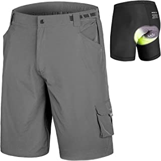 qualidyne Men's MTB Shorts Padded Mountain Bike Shorts, Loose Fit Cycling Shorts with Removable Liner