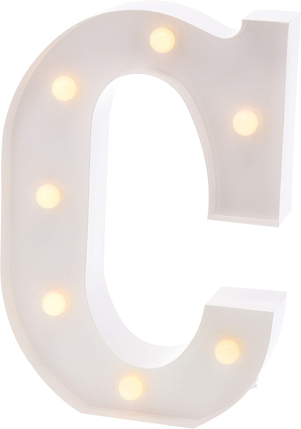 """Barnyard Designs Metal Marquee Letter Flat C Light Up Wall Initial Wedding, Bar, Home and Nursery Letter Decoration 12"""" (White)"""
