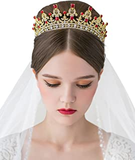 SWEETV Costume Tiara Crown CZ Crystal Wedding Pageant Tiara Bridal Headpiece Women Hair Jewelry, Gold+Ruby