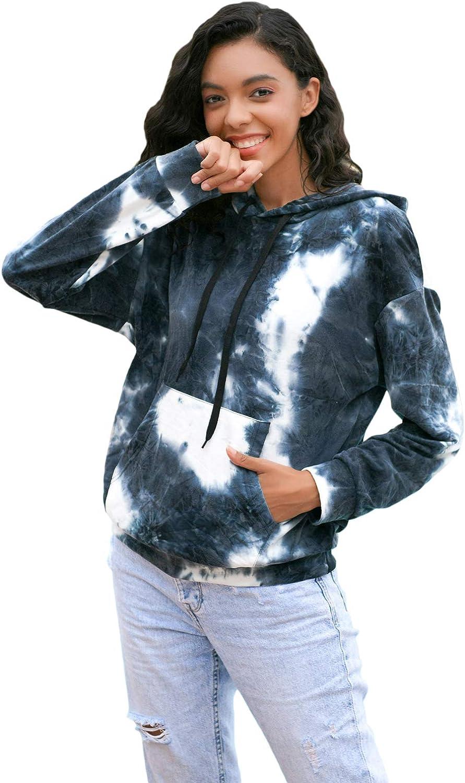 Floerns Women's Long Sleeve Tie Dye Pocket Hoodie Sweatshirt