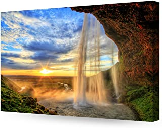 DECORARTS - The Waterfall in Seljalandfoss Giclee Print on Canvas Wall Art for Home Decor. 30x20 x1.5 - coolthings.us