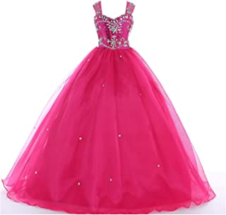 Flower Girls' Sequins Ball Gowns Beaded Long Pageant Dresses