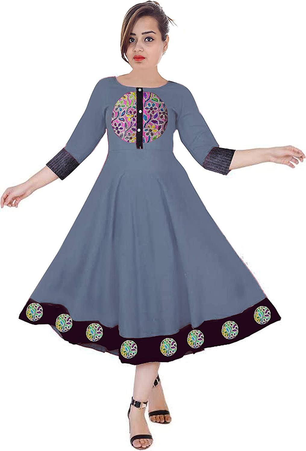 Lakkar Haveli Women Long Dress Embroidered Casual Long Tunic Frock Suit Ethnic Party Wear Maxi Dress Grey Color
