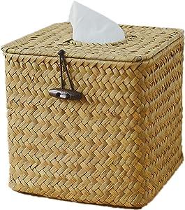 Raincol Morava Square Seagrass Facial Tissue Box Decorative Woven Paper Holder Napkin Dispenser (1)
