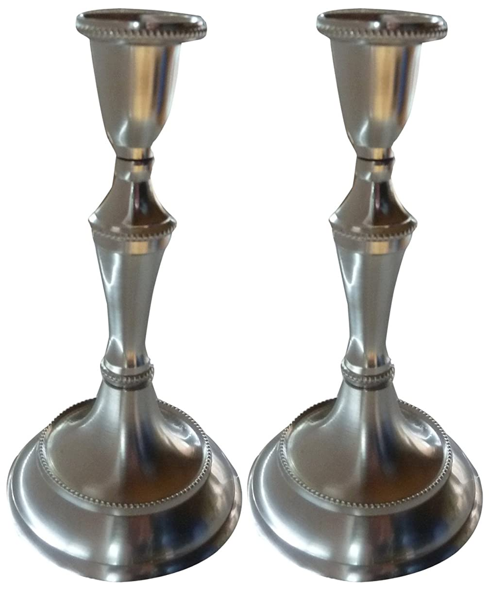 Biedermann & Sons Taper Candle Holder, Set of 2, Pewter Finish, 6.5 Inches Tall