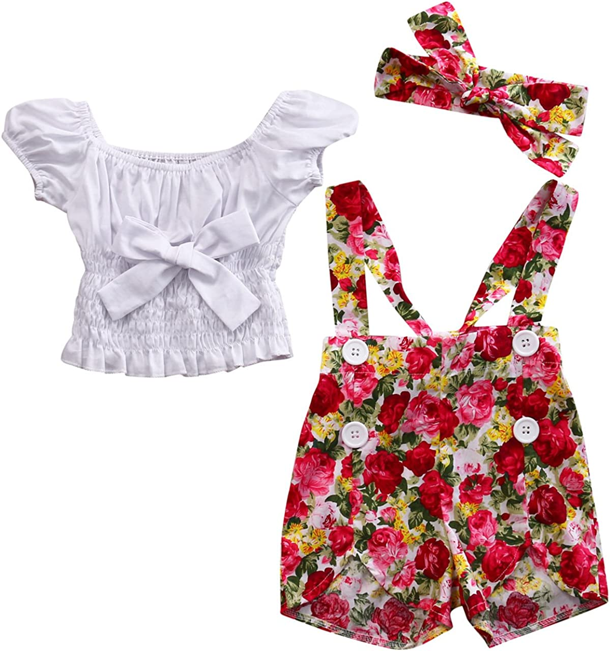 Baby Girl Off-Shoulder Bowknot Tops+Floral Stretchy Shor Overall New product!! Gorgeous