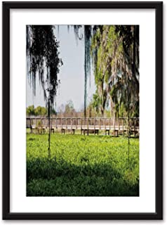 Southern live oak tree with hanging Spanish moss on boardwalk bridge in marsh swmap in Paynes Prairie Preserve Bedroom Black and White Structure Canvas Prints,002381 for Living Room,16''x20''