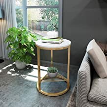 Side Table Marble End Table Small Round Coffee Table Metal Frame Wrought Iron Sofa Table for Living Room Furniture (Color ...