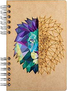 KOMONI - Carnet de notes en bois - Papier recyclé - Bullet Journal - Journal intime - Lion (Geline, A6)