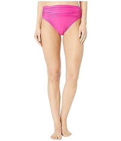 Carmen Marc Valvo Classic Shirred Waist Bikini Bottoms (Riviera Rose) Women