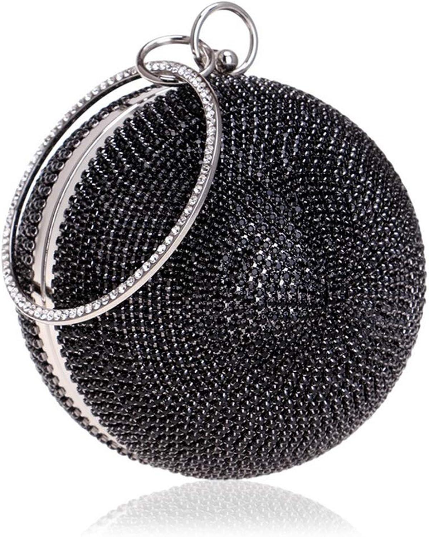HOUYAZHAN damen Ball Form Diamante Diamante Diamante Abend Clutch Bag für Braut Hochzeit Cocktail Handtasche Nightclub Prom Bag (Farbe   schwarz) B07MPP4VZS  Zuverlässige Leistung 6f0832