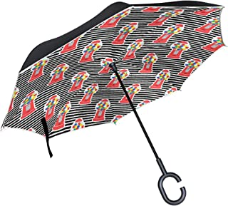 LOIGEIDQ Double Layer Inverted Umbrella Cars Reverse Umbrella, Rbubble Gum Machine You are Magic Colors Windproof UV Protection Big Straight Umbrella for Car Rain Outdoor with C-Shaped Handle