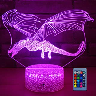 Dragon Lamp Dragon Night Light Kids Night Light,16 Colors with Remote 3D Optical Illusion Kids Lamp as a Pefect Gifts for ...