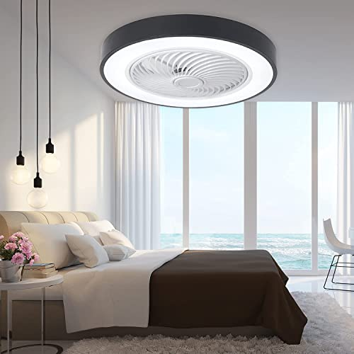 popular PASUTO Round Ceiling Fan with lowest new arrival Light, 19-inch Flush Mount Ceiling Fan with Lights Indoor/Outdoor Ceiling Fan with Remote Control,Black… online
