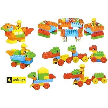 Zest 4 Toyz 73 Pcs (61 Blocks+12 Wheels) DIY Interlocking Building Blocks Puzzle Toy Set , Puzzle Construction Playset Toy, Creative Stacking Blocks Toys Set for Kid