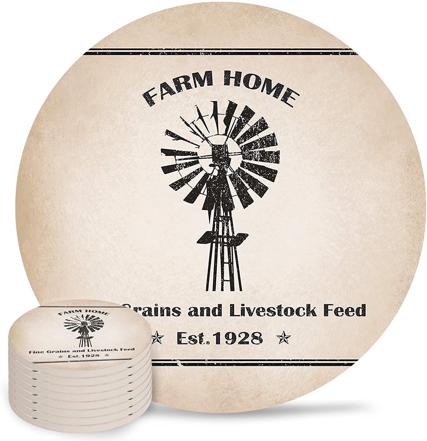 Farm Home Drink Coasters New products Very popular! world's highest quality popular Set of 8 Sl Absorbent Water 4 Inch Non