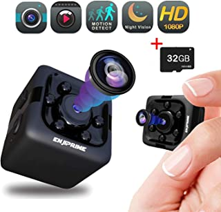 Spy Hidden Camera Nanny Cam - Mini Wireless Cop Cam Action Cameras for Indoor or Outdoor, Home Office or Car Video Recorder with 1080p HD Recording and Night Vision (with 32 GB SD Card)
