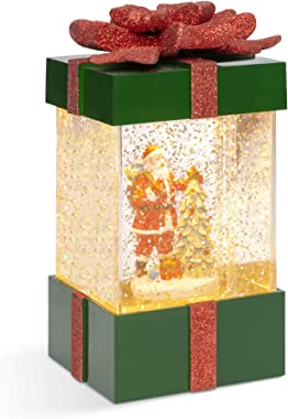Best Choice Products Musical Christmas Pre-Lit Water Glitter Gift Box Snow Globe Holiday Decor w/Santa Claus, Christmas Tree,