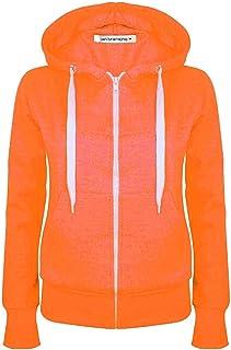 Janisramone Womens Ladies New Long Sleeve Plain Hoodie Zip Up Fleece Sweatshirt Jumper Warm Sweater Coat Top