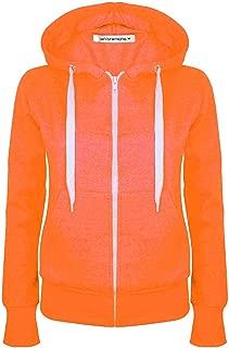 Janisramone New Womens Plain Hoodie Long Sleeve Zip Up Fleece Sweatshirt Jumper Warm Coat Top
