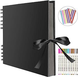 FUNVCE Scrapbook Photo Album 80 Black Pages Memory Books 11.