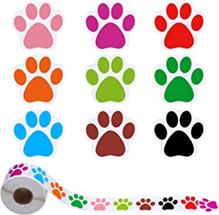 Elcoho 600 Pieces Colorful Paw Print Roll Stickers Dog Paw Print Stickers Bear Paw Print Labels, 9 Colors, 1.5 Inch (Mixed 9 Colors a)