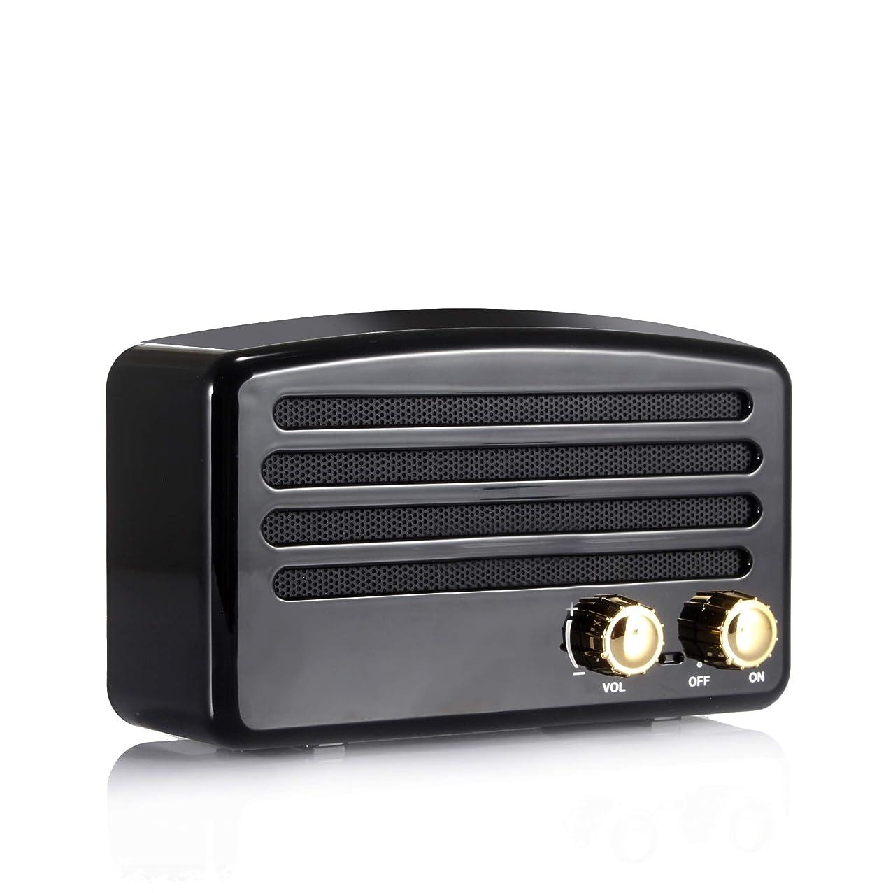 牧草地発表するラメMDQ ポータブルbluetoothスピーカー、ミニスピーカーレトロワイヤレスFMラジオ音楽ステレオプレーヤー、Mobilephone PC用 (black)