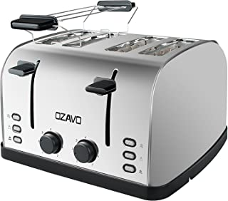 OZAVO Tostadora 4 Ranuras, Tostadora para Tostada Pan de Acero Inoxidable Automática 4 Discos,