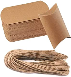 50 Pcs Kraft Paper Pillow Boxes Vintage Natural Candy Boxes for Wedding Party Candy Favor Boxes