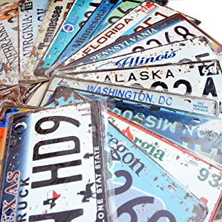 36 Pieces Assorted Retro Vintage Number Tags, Embossed License Plates, Home Wall Automobile Bar Garage Man Cave Decoration