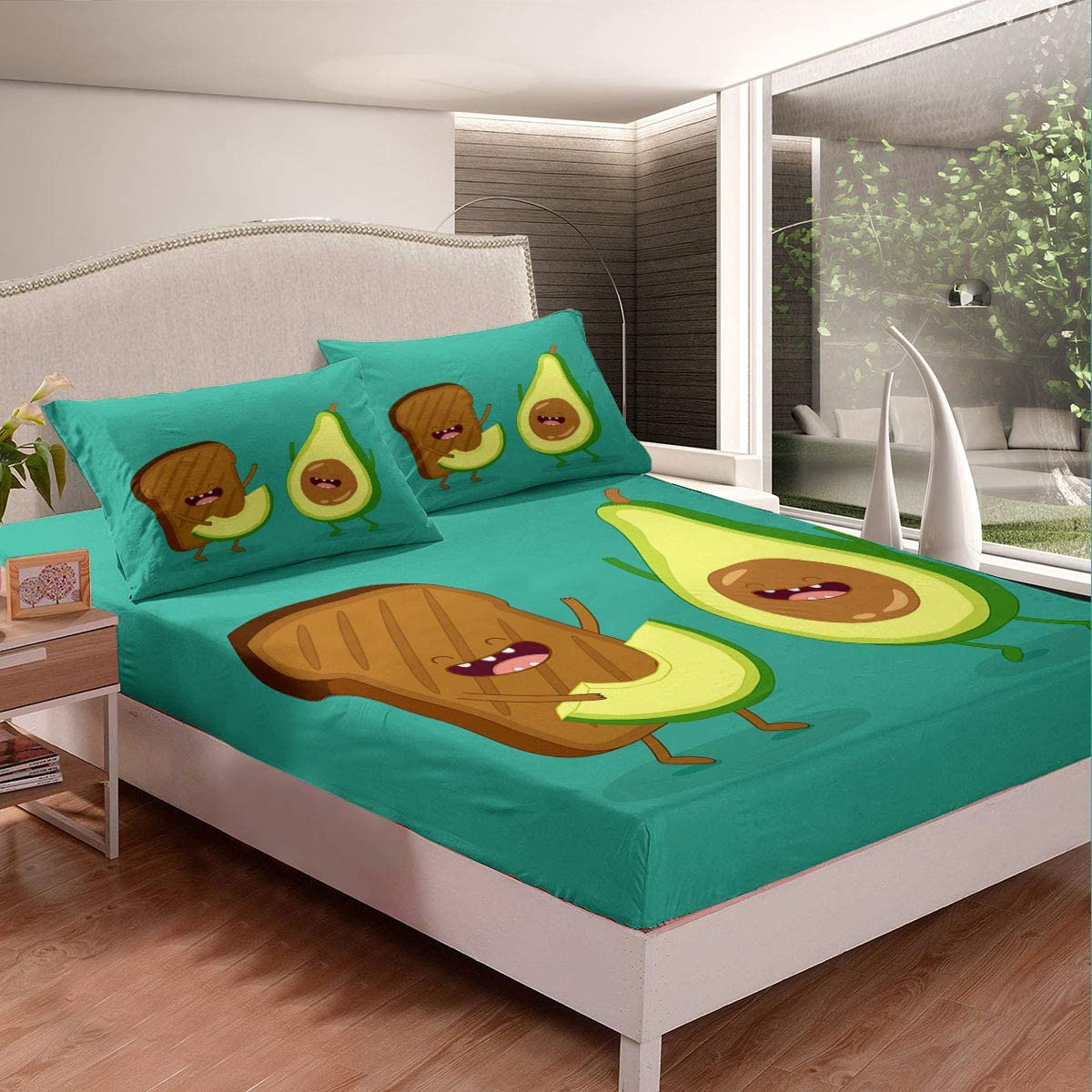 Bedding Fitted Sheet Set Avocado supreme Bread Fashion Toast Green and Blue