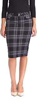 grey denim skirt knee length