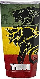 Skin Decal Vinyl Wrap (5-piece kit) for Yeti 20 oz Rambler Tumbler Cup / Rasta Lion Africa