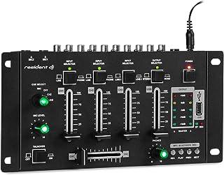 Resident DJ Amnesia Mezclador de 4 Canales - Mesa de Mezclas , Bluetooth , USB MP3 , Volumen Regulable de Micro y Auriculares , 2 entradas de 6,3mm para micrófono , Chasis metálico , Negro