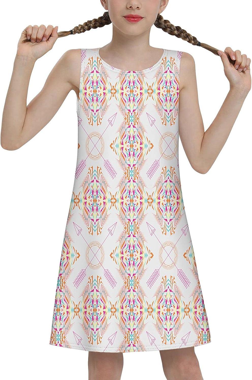 Gyapuk Girl Sleeveless Dress Colorful Print Adorable Tunic Summer Swing Skirt Casual Party Sundress