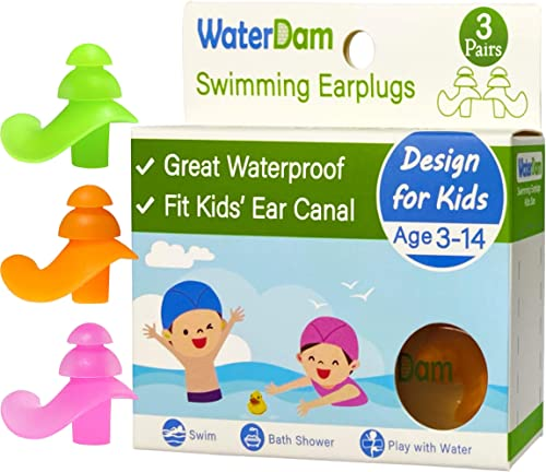 WaterDam Ear Plugs for Swimming Kids – 3 Pairs Soft Silicon Earplugs for Child Reusable Great Waterproof !!! Prevent ...