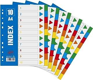 Intercalaires A4 10-Part Multicolore Diviseurs de Sujet en Plastique Séparateurs Registre pour Carnet Note Dossiers 5 Pack